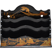Antique Lacquered Paper Mache Letter Holder c.1900