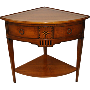 Mid 20th Century Inlaid Fruitwood Corner Table