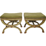 Pair of Vintage Italian Carved & Upholstered Benches c.1940s