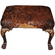 Contemporary Carved & Calf Skin Upholstered Bench