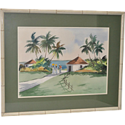 Mid Century Tropical Watercolor by John Ward c.1951