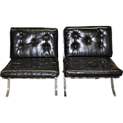 Pair of Vintage Italian Chrome & Leather Barcelona Chairs c.1960s