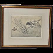 Henry Wilkinson (1921-2011) Sporting Dog Etching