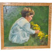 "Gunnar Anderson ""Picking Flowers"" Original Oil Painting"