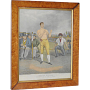 Antique Color Engraving - Johnny Walker English Boxer 19th c.