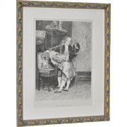 """""""The Connoisseur"""" Engraving After G. Boldini c.1878"""