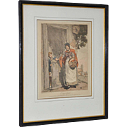 """""""Cottage Girl"""" Antique Hand Colored Engraving by Atkinson c.1807"""