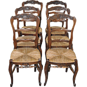Set of Six French Oak Dining Chairs w/ Rush Seats c.1920