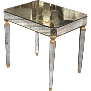 1940s Italian Reverse Painted Mirror Side Table