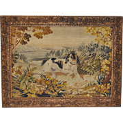 19th Century Needlepoint & Petit Point Sporting Dog Tapestry