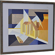 Geometric Abstract Painting by H. Honegger c.1974