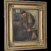 "19th Century Dutch Painting by Hertz ""The Carpenter"""