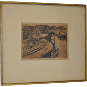 Vintage Early 1920s Etching by Raphael