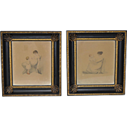 """Pair of Rare Early 19th Century Stipple Engravings """"Mother and Child"""" c.1808"""