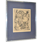 "Vintage Abstract Cubism Etching ""Lady in Labor"" c.1950"