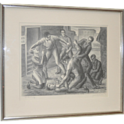 """Jack McMillen """"Controversy"""" American Social Realism Lithograph c.1936"""