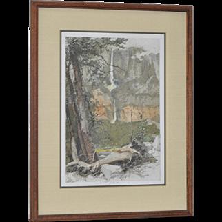 Yosemite Falls Color Etching by Luigi Kasimir