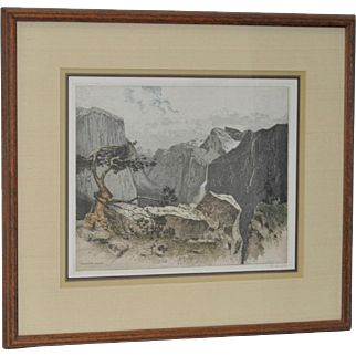 Yosemite Valley View Color Etching by Josef Eidenberger