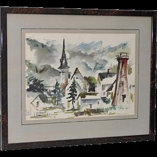 Mendocino Village Watercolor by Gerald Gleeson c.1970