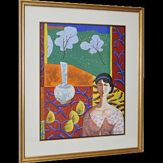 """Matisse's Room"" Original Painting by Wang Ju c.1990s"