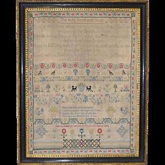 18th Century Sampler by Charlotte Wood c.1774