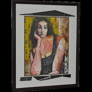 Original Oil Portrait w/ Custom Mat by BARNES