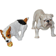 Pair of Royal Doulton Figurines - English Bulldog and Jack Russell Terrier