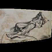 SIGMUND ABELES Vintage Charcoal Drawing c.1960's