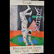 "David Hockney ""Parade"" Vintage Metropolitan Opera, New York Poster c.1981"
