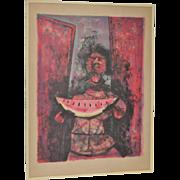 """Rufino Tamayo """"Mujer con Sandia"""" Signed Lithograph c.1950"""