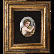 Hand Painted Porcelain Miniature Christ Child w/ Lamb c.1910