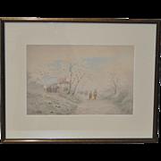 Shigesaburo Ishida (1888-1960) Japanese Landscape Watercolor c.1940