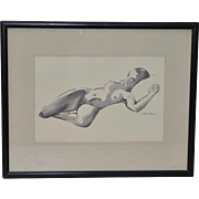 Reclining Nude Watercolor by Hubert Buel c.1960
