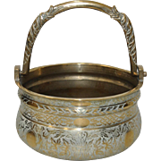 19th Century Carved Brass Pot w/ Twin Dolphin Handle