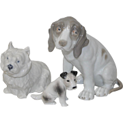 Lot of Three Porcelain Dogs w/ West Highland Terrier by Royal Copenhagen
