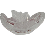 A Lalique Leaf Bowl of Frosted Oak Leaves