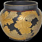 Porcelain Orchid Pot w/ Gilded Acanthus Leaves Over Ebony Background c.1910