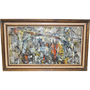 Mid Century Modern Abstract Oil Painting by Paul Wood c.1959