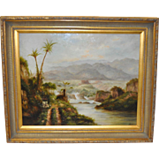 Early 20th Century Tropical Landscape Oil Painting