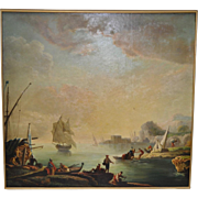 Large 19th Century Italian Coastal Port Landscape Painting