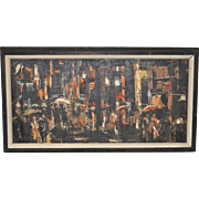 """Vintage San Francisco """"North Beach"""" Abstract Oil Painting c.1965"""