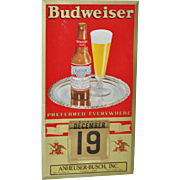 Vintage Metal BUDWEISER Wall Calendar w/ All Months & Dates c.1950