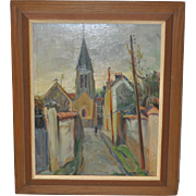 "Andre Michel Original Painting ""The Little Church"", France c.1950s"
