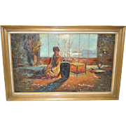 Mid Century Modern Japonism Oil Painting c.1950
