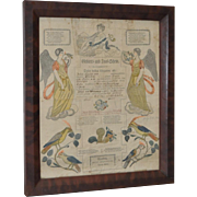 Pennsylvania Printed & Hand Colored Fraktur c.19th c.