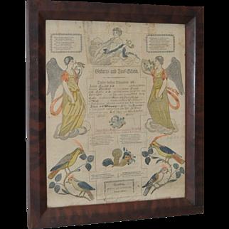 Pennsylvania Printed & Hand Colored Fraktur c.19th c.