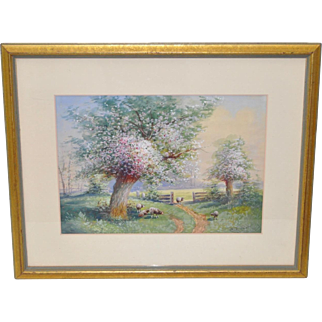 Stunning Watercolor Painting of a Country Landscape in the Spring c.1940s