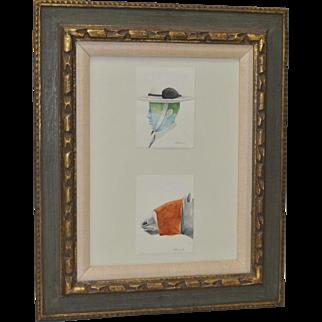"""Morris Broderson Original """"Picador & Horse"""" Watercolor c.1966"""
