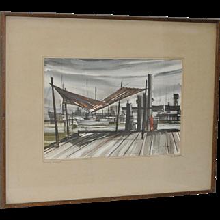 Gus Bouquet (b.1915) Original Watercolor c.1966