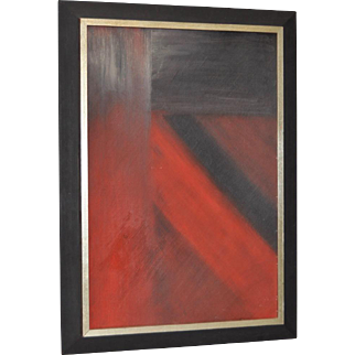 """Vintage Abstract """"Black & Red"""" Oil Painting by RM c.1970"""